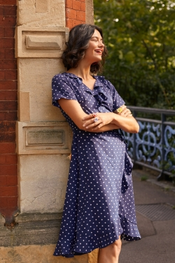 Polka Dot Frill Wrap-Dress Navy
