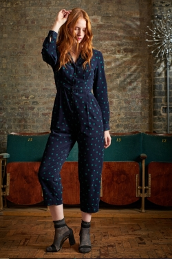 Lulu Jumpsuit Dotty Fine Navy Cord