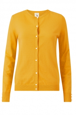 Pearl Button Knitted Cardigan in Mustard