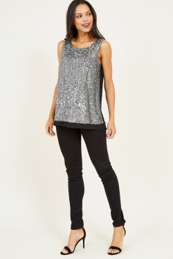 Silver Paillettes Embellished Top