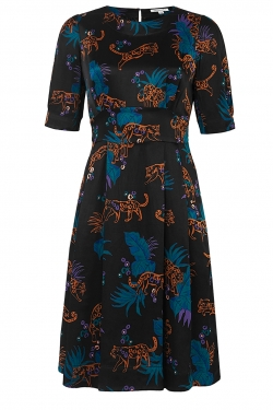 Meredith Deco Leopard Satin Dress