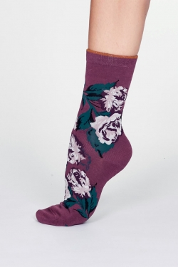 Rosie Bamboo Rose Socks Mauve Purple