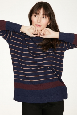 Emery Organic Cotton & Wool Roll-Neck Sweater Blue
