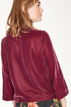 Veronica Recycled Polyester Velvet Top Berry