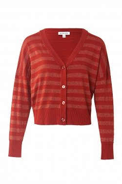 Clara Knitted Lurex Stripe Cardigan in Rust