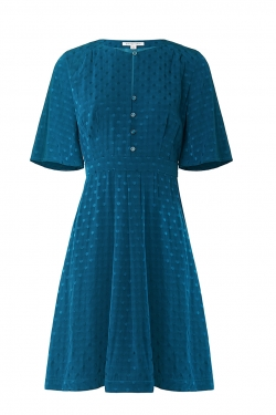 Kiki Dress in Teal Spot Jacquard