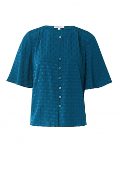 Remi Top in Teal Spot Jacquard