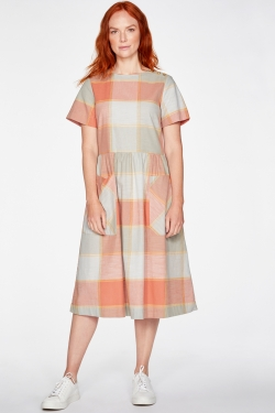 Alexa Organic Cotton Check Dress in Clementine Orange