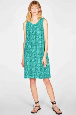 Dorothea Organic Cotton Jersey A-Line Dress in Sea Green
