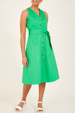 Green Button Front Cotton Dress