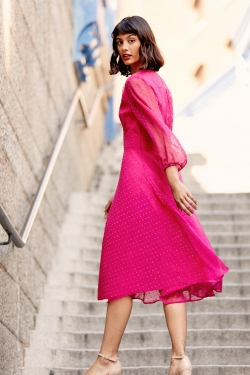 Dobby Spot Occasion Midi Dress in Fuchsia