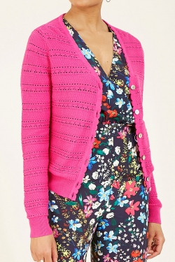Pointelle Spring Knitted Cardigan in Pink