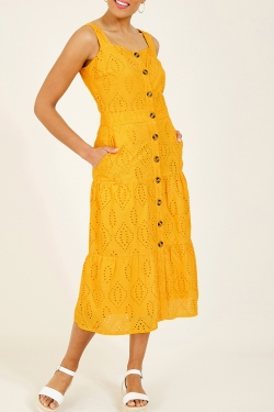 Broderie Anglaise Cotton Sun-Dress in Yellow