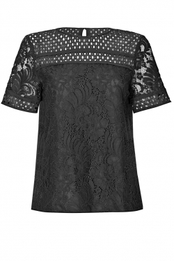 Flower Lace and Chiffon Top black