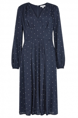 Bianca Navy Dobby Spot Midi Dress