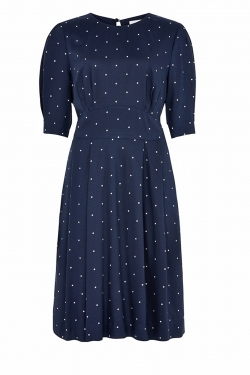 Meredith Navy Dobby Spot Dress