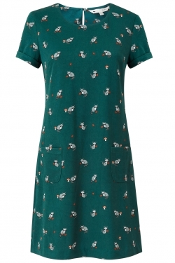 Racoon Print Tunic-Dress Green