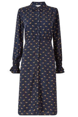 Navy Recycled Horse Midi Shirt-Dress