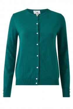 Pearl Button Knitted Cardigan in Teal