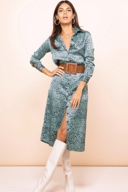Hadiba Shirt-Dress in Mint Leopard