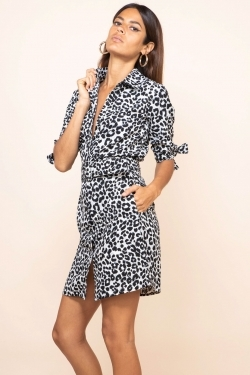 Jonah Mini Shirt-Dress in Mono Leopard