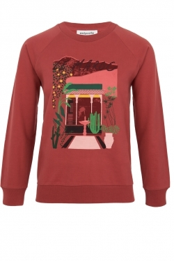 Le Maroc Print and Embroidery Cotton Sweater