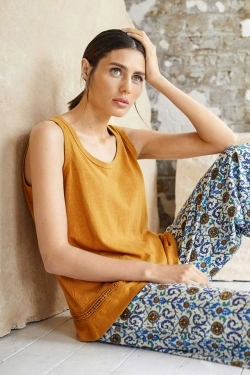 Rena Hemp & Cotton Vest Top Saffron