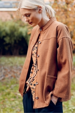 Constance Recycled Wool Jacket Amber Brown