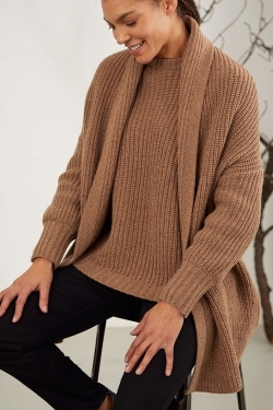 Potto Chunky Knit Wool Blend Cardigan