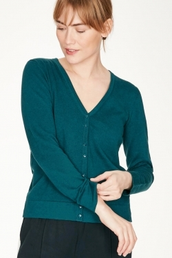 Loren Organic Cotton Cardigan Kingfisher