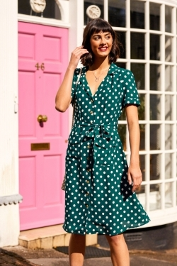 Polka Dot Print Shirt-Dress in Green