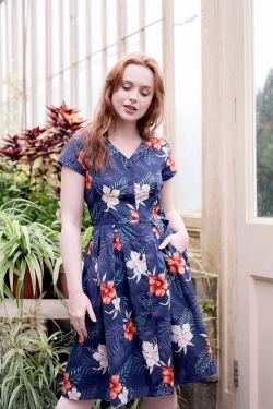 Misty Hawaiian Print Cotton Dress