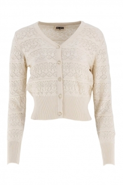 Annabelle Pointelle Cotton Cardigan in Ivory