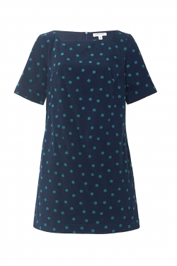 Joni Cotton Dress in Dotty Fine Navy Cord