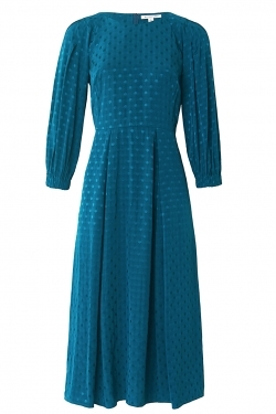 Sable Dress in Teal Spot Jacquard