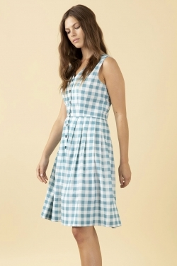 Scarlett Sky Blue Gingham Cotton-Linen Dress