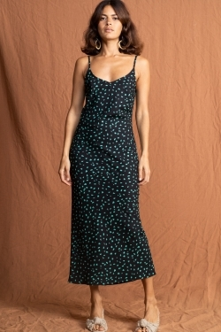 Sienna Midmaxi Dress in Abstract Green
