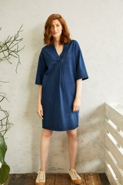 Skylar Organic Cotton Denim Jersey Tunic-Dress
