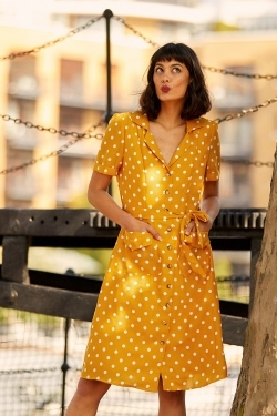 Polka Dot Print Shirt-Dress in Bright Mustard