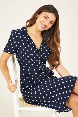 Polka Dot Print Shirt-Dress in Dark Navy