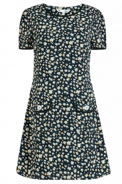 Daisy Print Mini Tunic-Dress with Pockets