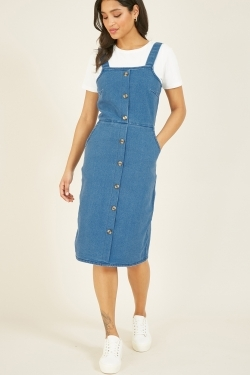 Denim Stretch Cotton Dungaree-Dress