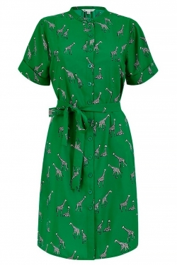 Giraffe Print Mandarine Collar Shirt-Dress in Green