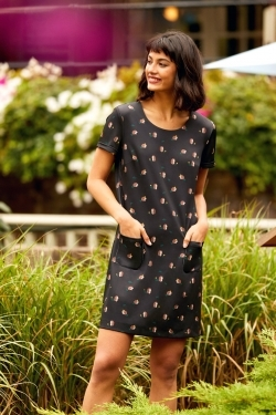 Hedgehog Print Tunic-Dress Black