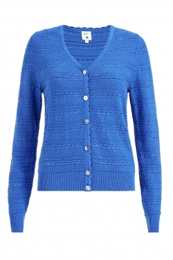Pointelle Spring Knitted Cardigan in Blue