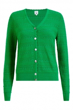 Pointelle Spring Knitted Cardigan in Green