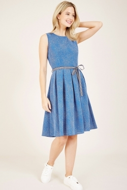Blue Spotted Belted Skater Dress