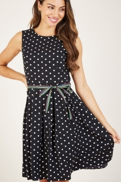 Black Polka Dot Belted Skater Dress