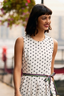 White Polka Dot Belted Skater Dress