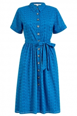 Broderie Anglaise Cotton Shirt-Dress in Blue